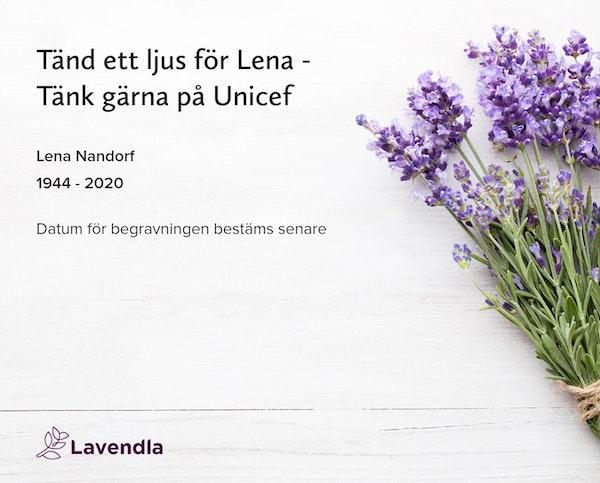 Inbjudningskort till ceremonin för Lena Nandorf