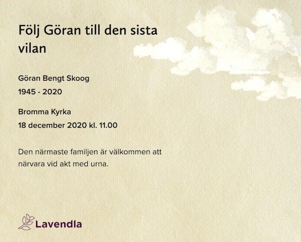 Inbjudningskort till ceremonin för Göran Bengt Skoog