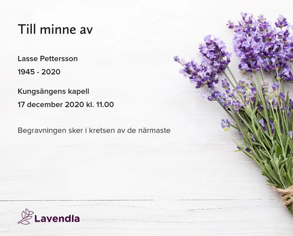 Inbjudningskort till ceremonin för Lasse Pettersson