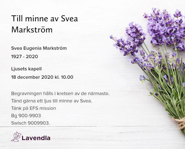 Inbjudningskort till ceremonin för Svea Eugenia Markström