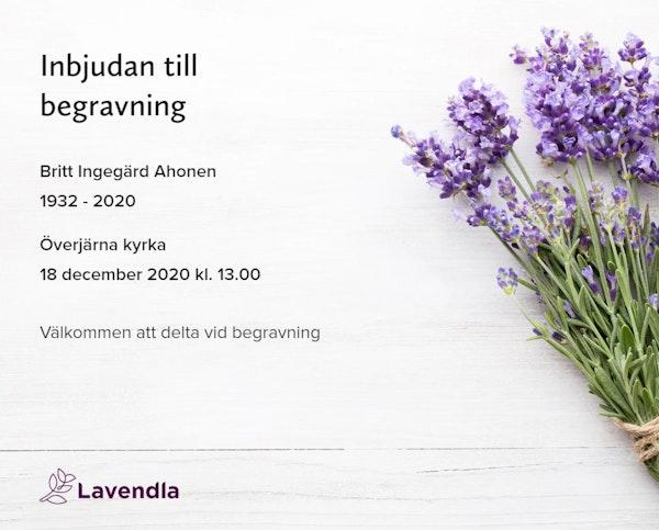 Inbjudningskort till ceremonin för Britt Ingegärd Ahonen