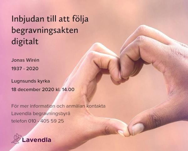 Inbjudningskort till ceremonin för Jonas Wirén