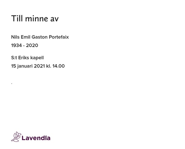 Inbjudningskort till ceremonin för Nils Emil Gaston Portefaix