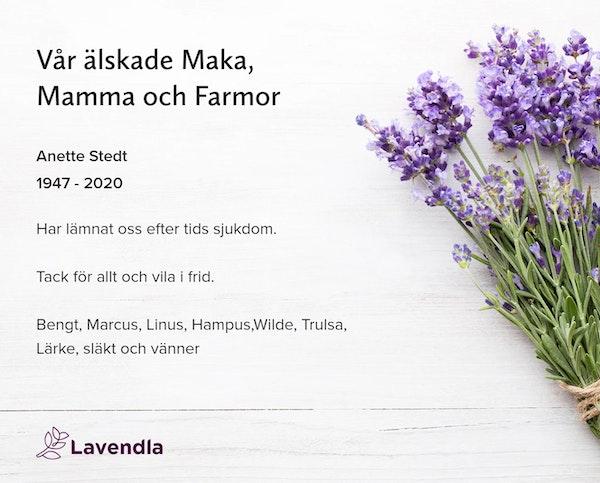 Inbjudningskort till ceremonin för Anette Stedt
