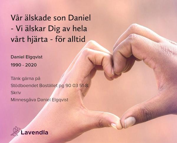 Inbjudningskort till ceremonin för Daniel Elgqvist