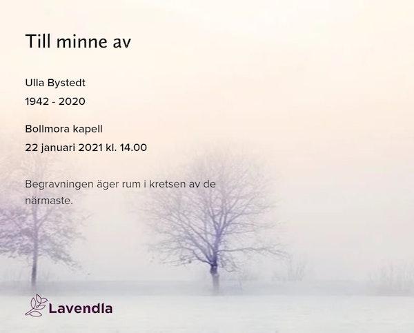 Inbjudningskort till ceremonin för Ulla Bystedt