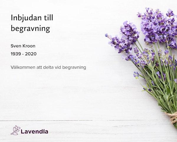 Inbjudningskort till ceremonin för Sven Kroon