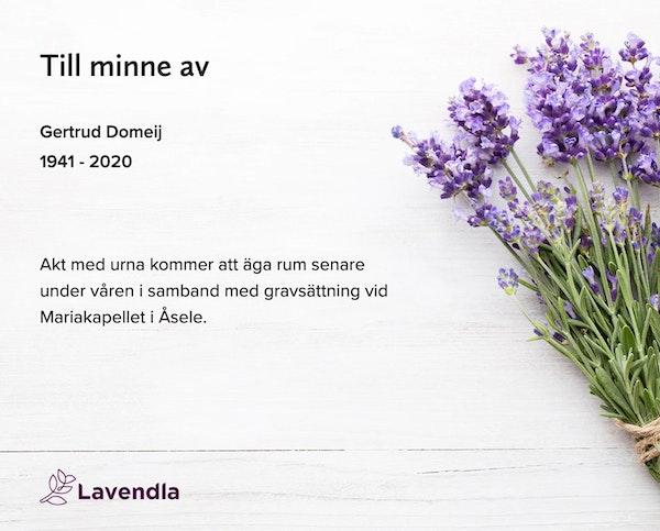 Inbjudningskort till ceremonin för Gertrud Domeij