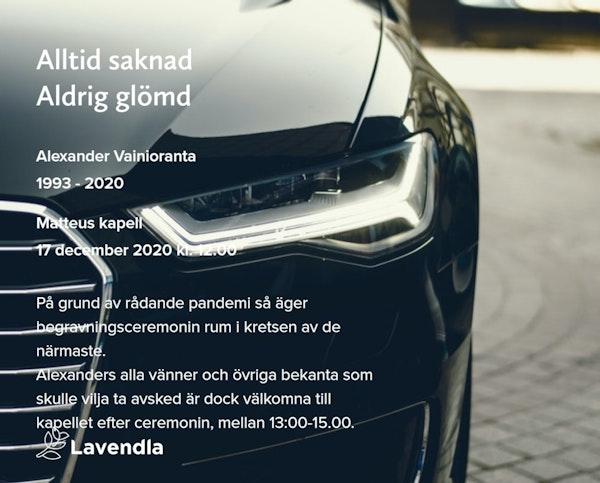 Inbjudningskort till ceremonin för Alexander Vainioranta