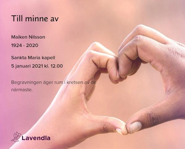 Inbjudningskort till ceremonin för Maiken Nilsson