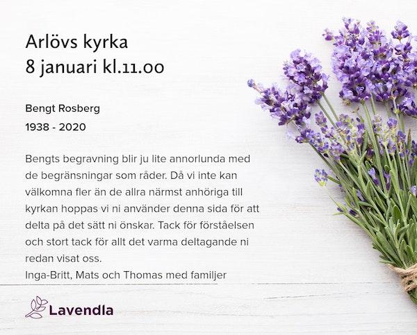 Inbjudningskort till ceremonin för Bengt Rosberg