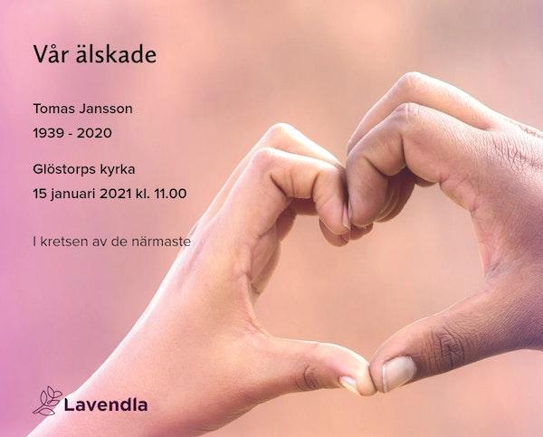 Inbjudningskort till ceremonin för Tomas Jansson