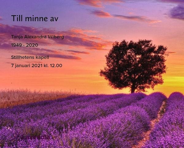 Inbjudningskort till ceremonin för Tanja Alexandra Wiberg