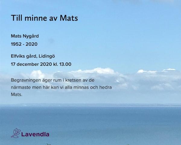 Inbjudningskort till ceremonin för Mats Nygård