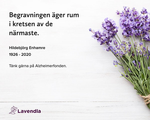 Inbjudningskort till ceremonin för Hildebjörg Enhamre