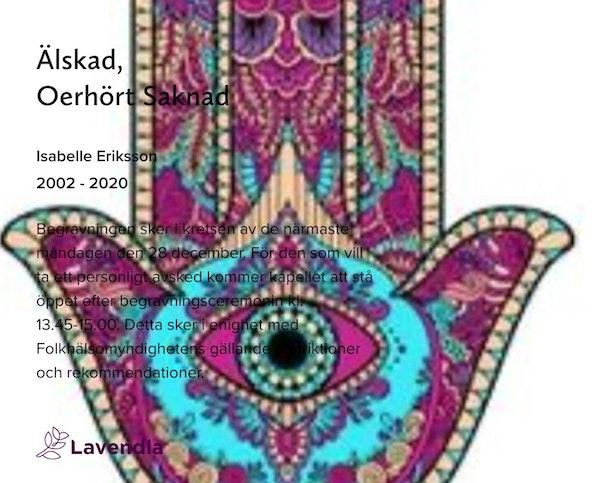 Inbjudningskort till ceremonin för Isabelle Eriksson