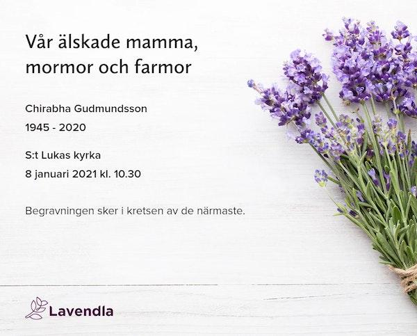 Inbjudningskort till ceremonin för Chirabha Gudmundsson