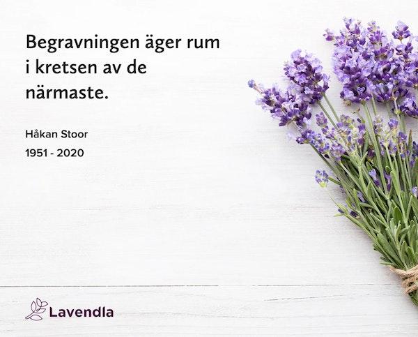 Inbjudningskort till ceremonin för Håkan Stoor