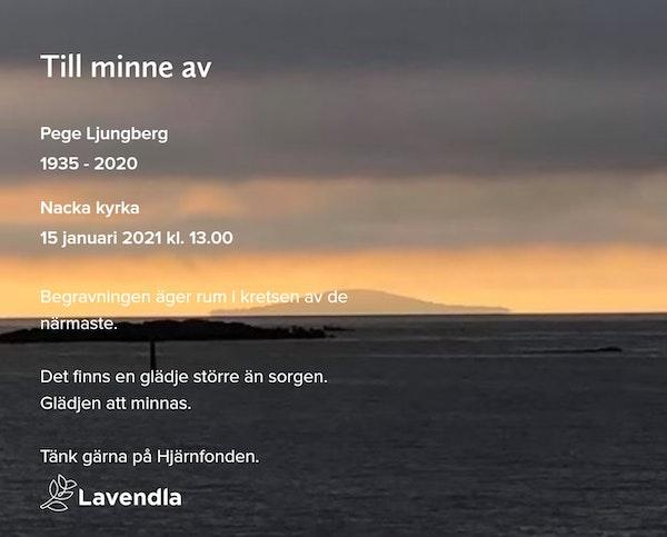 Inbjudningskort till ceremonin för Pege Ljungberg