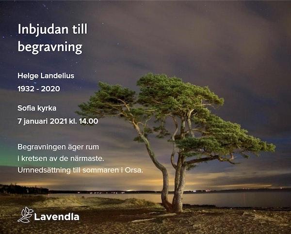 Inbjudningskort till ceremonin för Helge Landelius