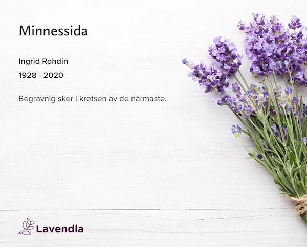 Inbjudningskort till ceremonin för Ingrid Rohdin