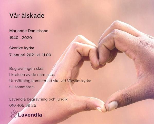 Inbjudningskort till ceremonin för Marianne Danielsson