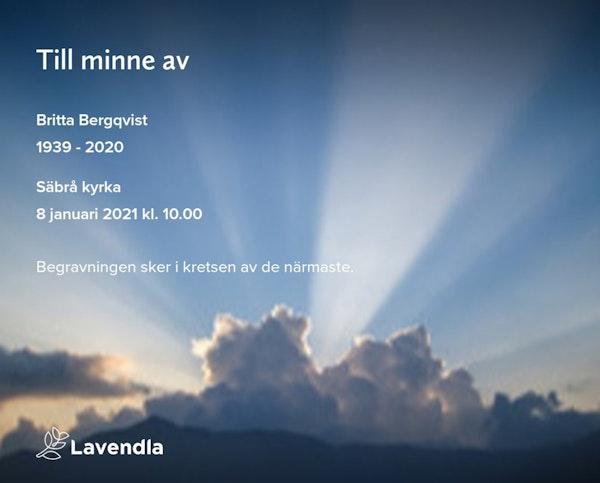 Inbjudningskort till ceremonin för Britta Bergqvist