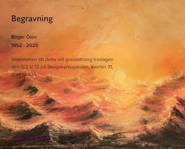 Inbjudningskort till ceremonin för Birger Öien