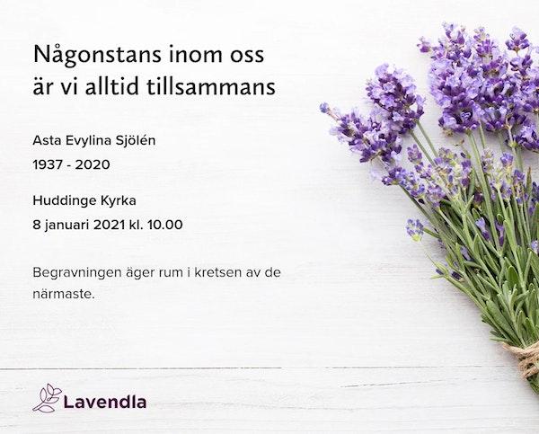 Inbjudningskort till ceremonin för Asta Evylina Sjölén