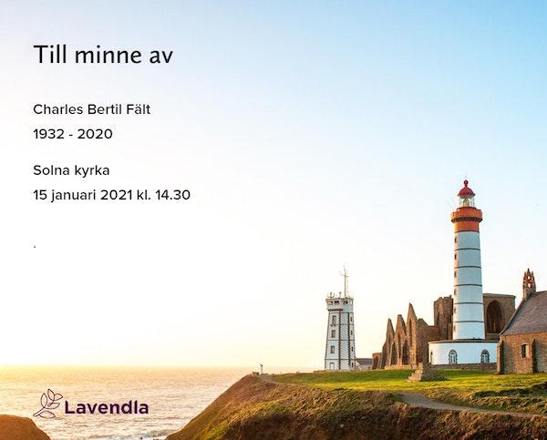 Inbjudningskort till ceremonin för Charles Bertil Fält