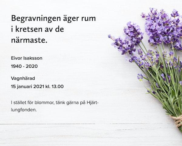 Inbjudningskort till ceremonin för Eivor Isaksson