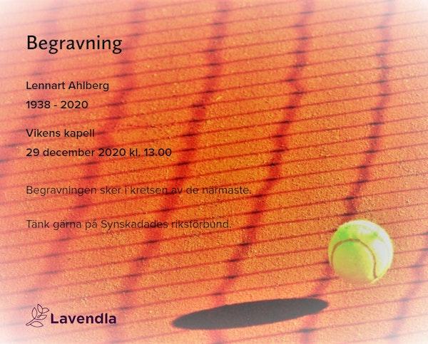 Inbjudningskort till ceremonin för Lennart Ahlberg