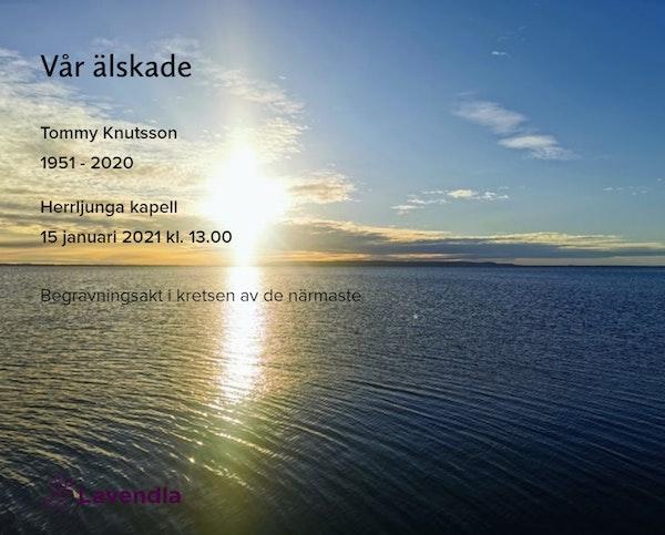 Inbjudningskort till ceremonin för Tommy Knutsson