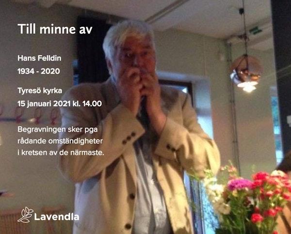 Inbjudningskort till ceremonin för Hans Felldin