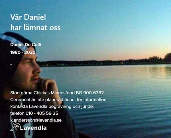 Inbjudningskort till ceremonin för Daniel De Colli