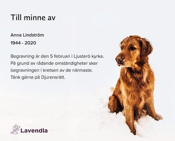 Inbjudningskort till ceremonin för Anna Lindström