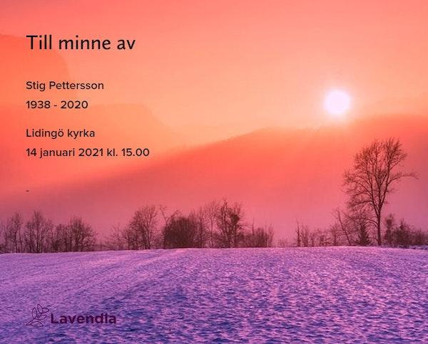 Inbjudningskort till ceremonin för Stig Pettersson