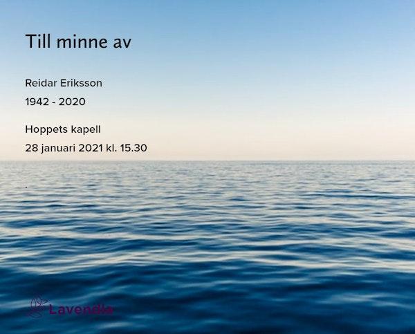 Inbjudningskort till ceremonin för Reidar Eriksson