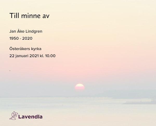 Inbjudningskort till ceremonin för Jan Åke Lindgren