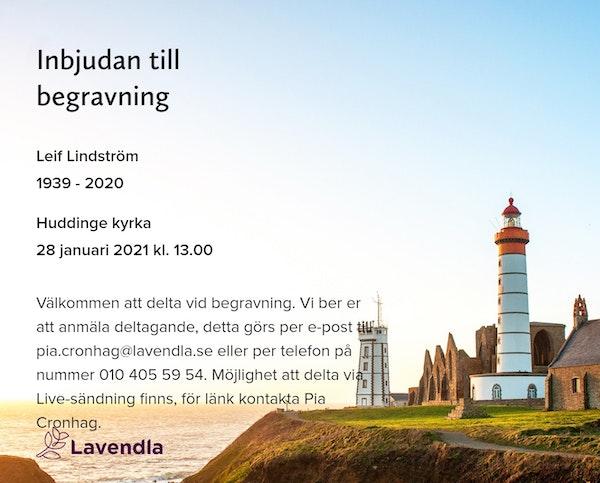 Inbjudningskort till ceremonin för Leif Lindström