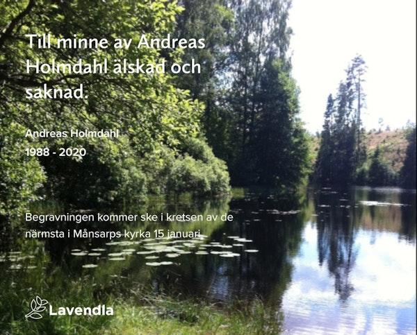 Inbjudningskort till ceremonin för Andreas Holmdahl