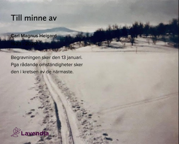 Inbjudningskort till ceremonin för Carl Magnus Heigard