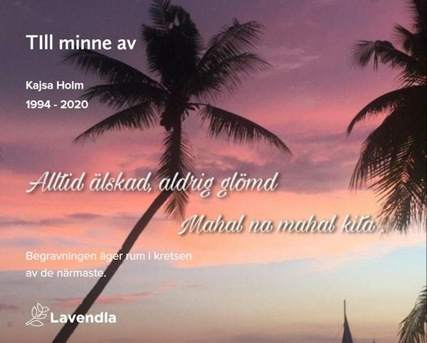 Inbjudningskort till ceremonin för Kajsa Holm