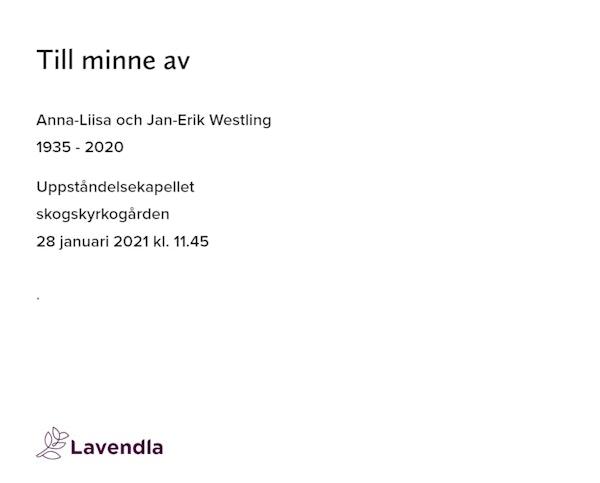 Inbjudningskort till ceremonin för Anna-Liisa och Jan-Erik Westling