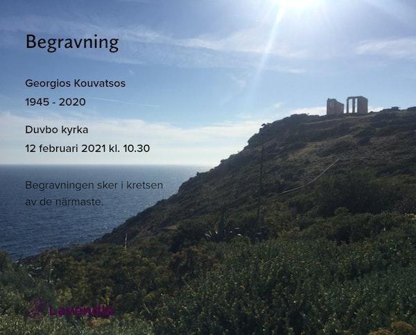 Inbjudningskort till ceremonin för Georgios Kouvatsos