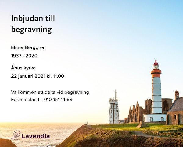 Inbjudningskort till ceremonin för Elmer Berggren