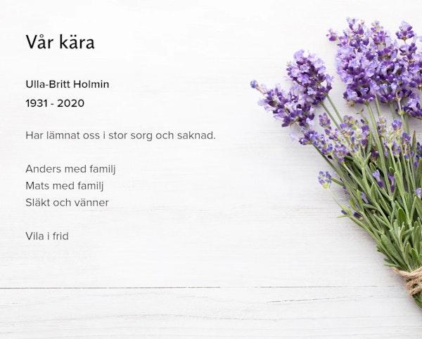 Inbjudningskort till ceremonin för Ulla-Britt Holmin
