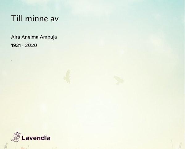 Inbjudningskort till ceremonin för Aira Anelma Ampuja