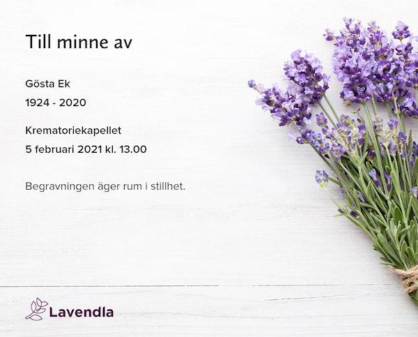 Inbjudningskort till ceremonin för Gösta Ek