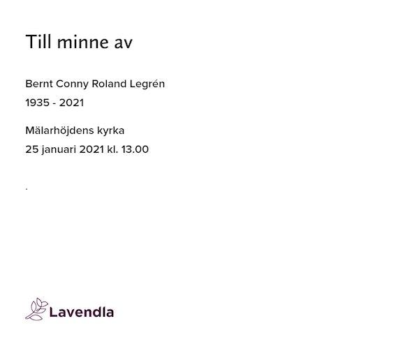 Inbjudningskort till ceremonin för Bernt Conny Roland Legrén